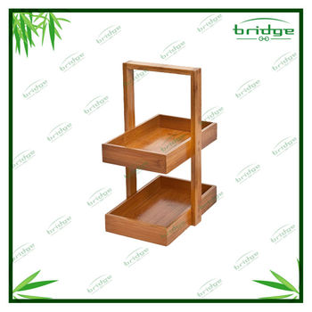 2-tier durable bamboo storage basket