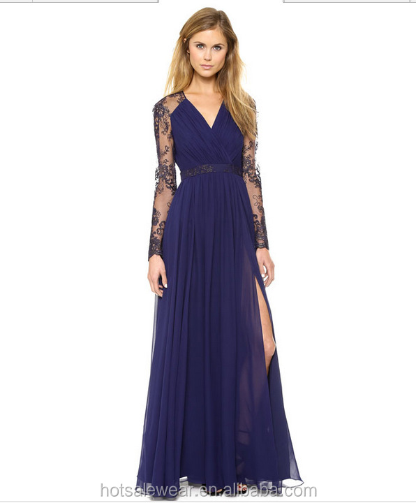 High Slit Maxi Dress Elegant Hollow Out Evening Gown Lace Embroideried Long Dress DME-113
