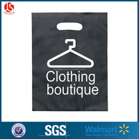 HDPE plastic clothing packing bag reinforced patch handle die cut punch shopping bag