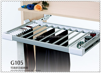 Sliding pull out trouser hanger rack for closet