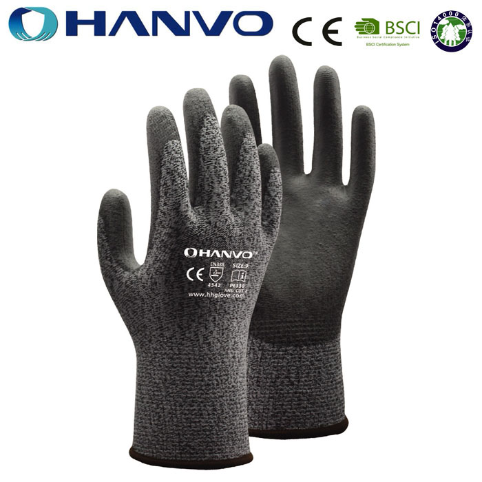 Wholesale HANVO Brand Cut3 PU coating cut resistant safety <strong>gloves</strong>