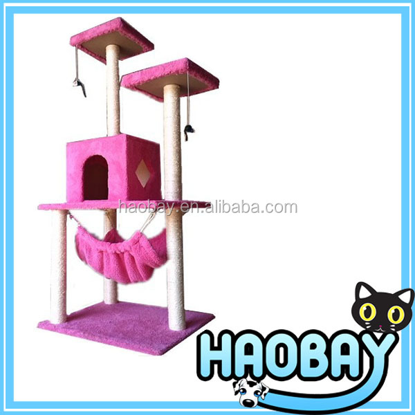 Pink Cat Scratching Trees House With Sleeping Bag