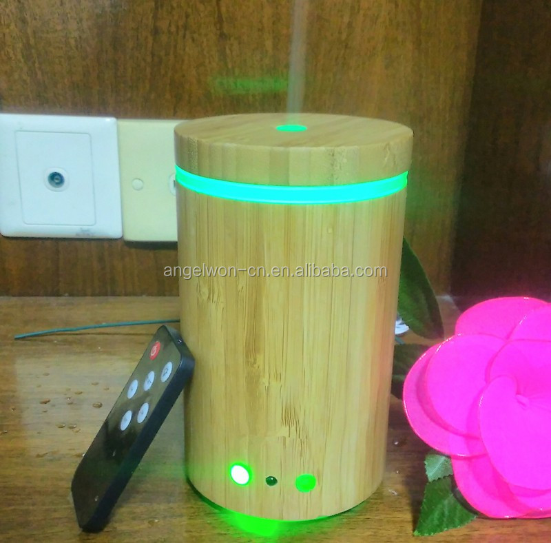 Shenzhen remote control aroma diffuser 160ml essential oil real bamboo humidifier home scent air purifier with 7 color LED light