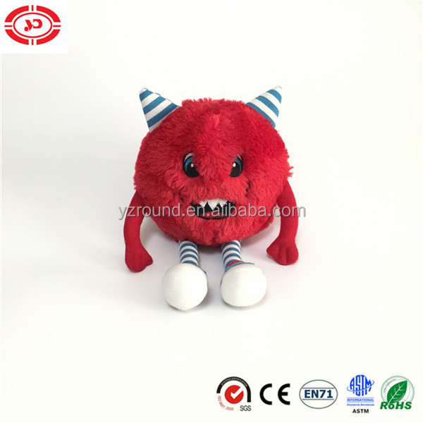 Red Devil with horn angry stuffed round party soft plush toy