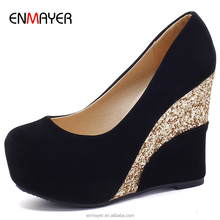 Wholesale high quality brazil velvet upper shiny magritte leather heel covered high platform wedge party street shoes footwear