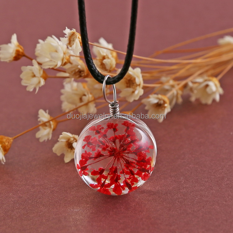 Real dried flower multi color crystal zinc alloy pendant round locket necklace