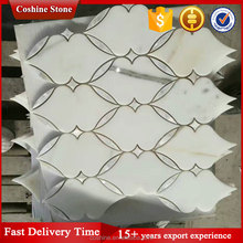 Low price waterjet white carrara marble mosaic tiles