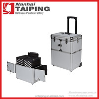 Silver Cosmetic Trolley Tool Box Rolling Aluminum Makeup Case
