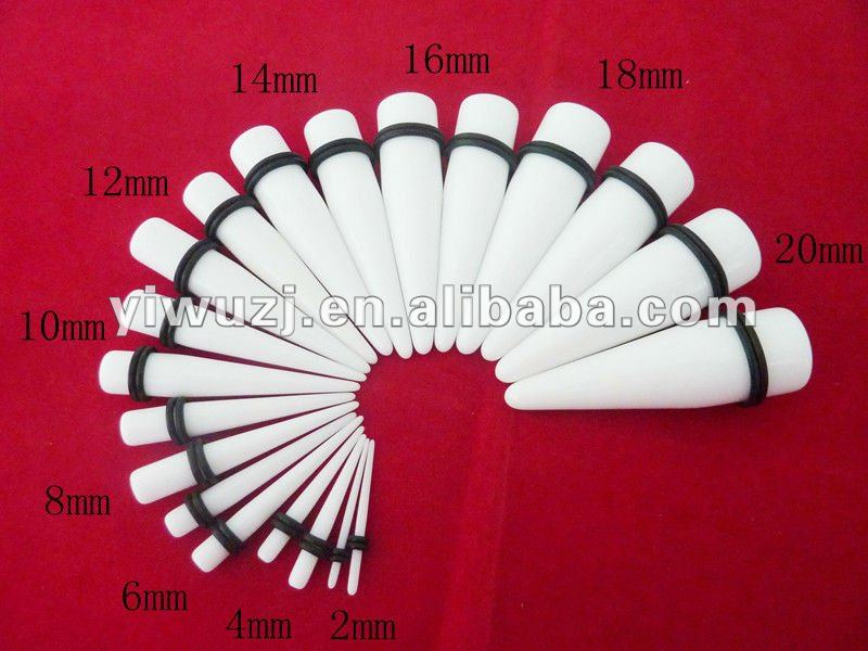 hot stock selling small MOQ mixed 10 gauges double o-ring white smooth acrylic UV straight ear taper