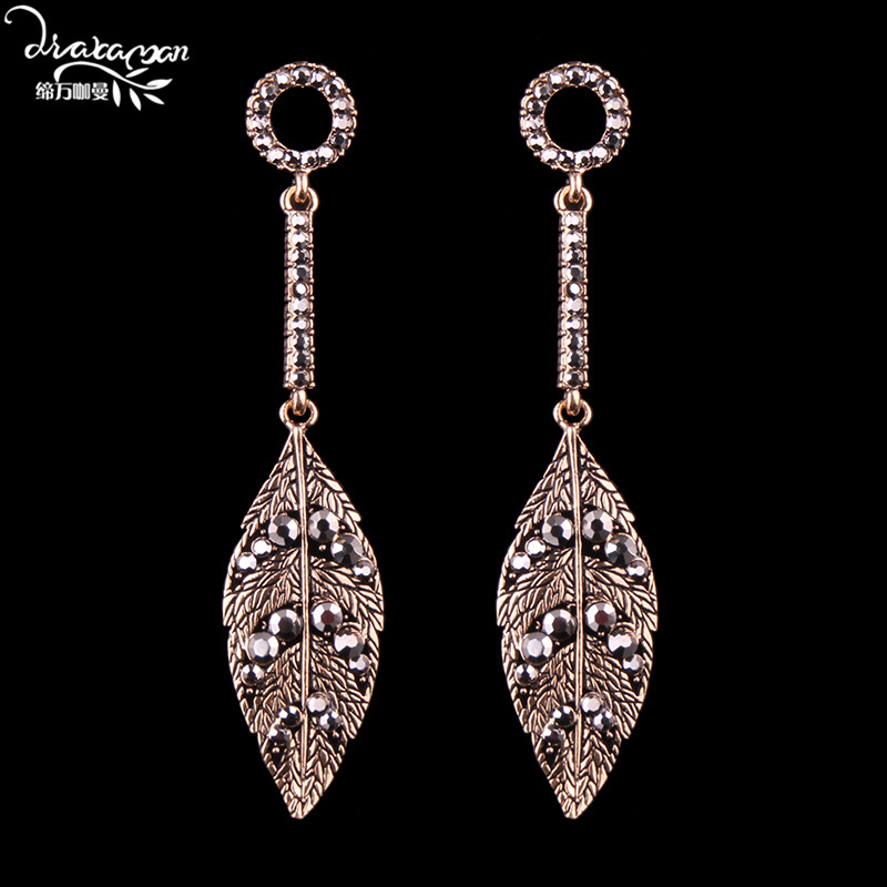 Dvacaman Brand 2017 Za Leaves Long Drop Earrings Women Party Statement Jewelry Earrings Vintage Maxi Drop Earrings J62
