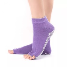 Bonypony factory custom bamboo Non Slip Yoga Women's Pilate Grip Socks Home Gym toeless half open Toe anti slip grip Socks