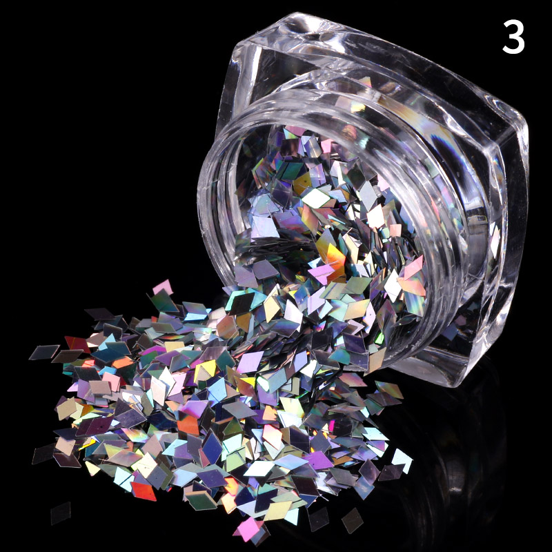 Amazon Hot Popular Shinning 12 Colors Private Label Rhombus Shape Nail Art Sequins Glitter For Nail Art Decorations