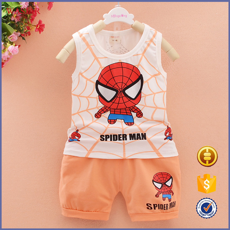 Bestselling New Style Summer spider-man cartoon Kid Clothing Cheap Baby Overall Clothes Set