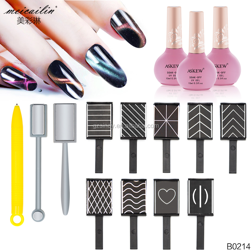 12 / Set Cat Eyes 3D Magnet Stick 12 Styles Choose Magnet Draw Vertical Stick for Nail Polish Gel 3D Magic Nail Tool