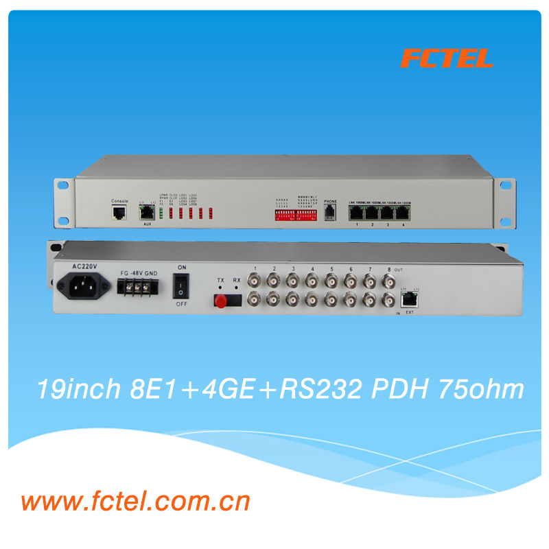 8E1+4*1000M Ethernet ,75ohm ,SNMP, pdh mux,E1 Ethernet over fiber PDH mux, View E1 Ethernet MUX