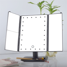 Trifold Makeup Mirror 21 LED Lighted Vanity Mirror With Touch Screen USB Charging Adjustable Stand Travel Beauty Mirror