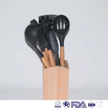 Silicone Kitchen Utensils Cooking Utensils Set with Wood Handles for Nonstick Cookware, Utensils Holder Included
