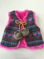 2016 hot sale children acrylic heart jacquard vest with soft faux fur lining