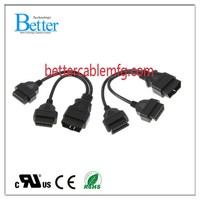 J1962 Male To Female 16 Pin OBDII OBD2 Splitter Cable