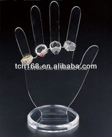 Clear acrylic hand shape jewelry display for supermarket