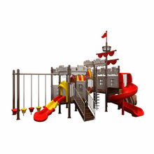 kindergarten outdoor indoor playground pirate ship themed children park plastic slide with fitness equipment and swing funtion