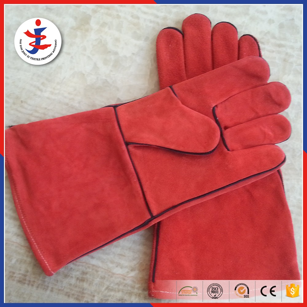 Red color cow split leather working welding <strong>glove</strong>