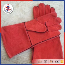 Red color cow split leather working welding glove