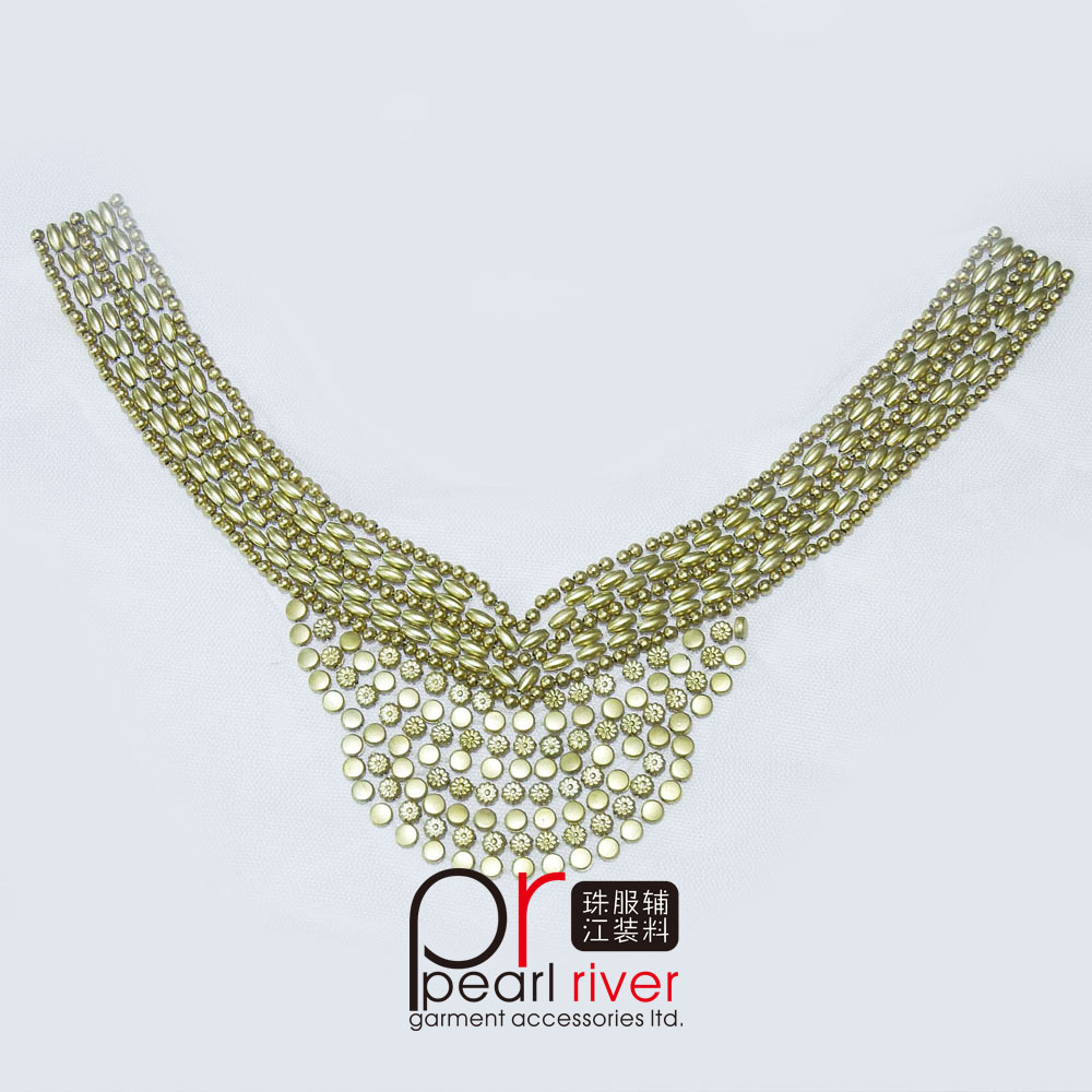 Graceful gold beads handmade applique neck trim/Beaded sew on mesh neckline/Beaded neck motif for ladies