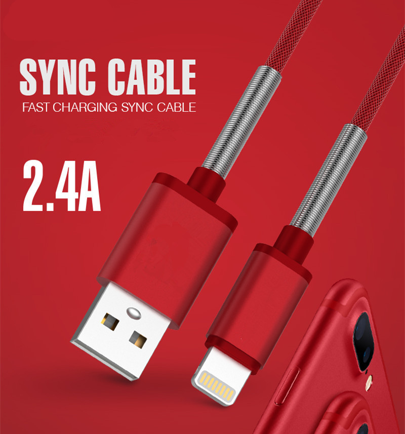 Mobile Phone Cable For Apple iPhone 5 5S 5C SE Metal Braided USB Data 2.4A Sync Fast Charge 1m Charger Wire