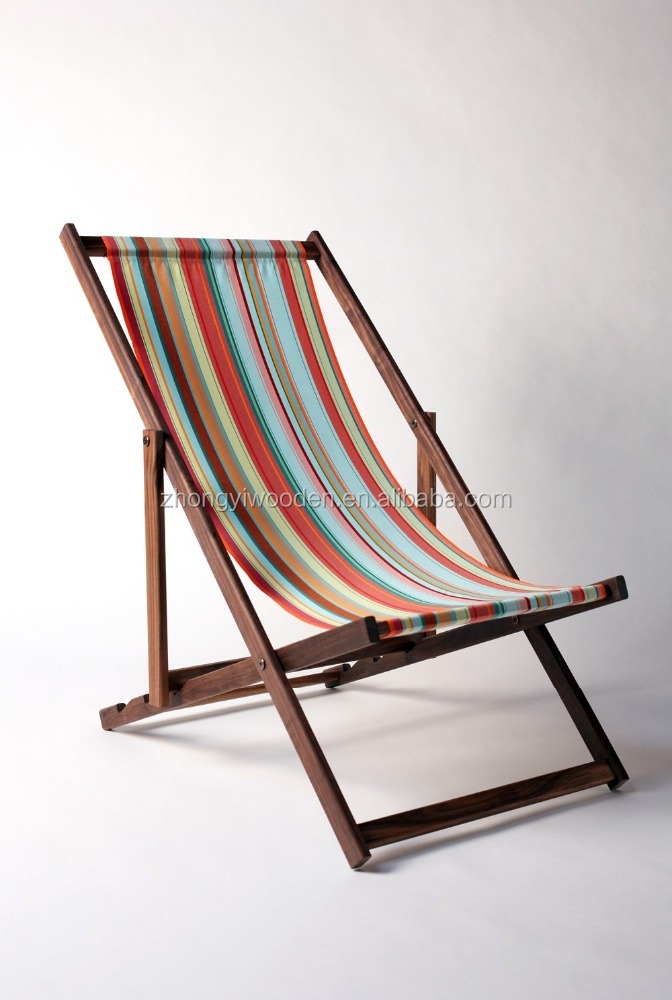 Foldable outdoor wood sling chair adjustable height wooden beach chairs
