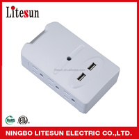 LITESUN LA 7S ETL CETL 6 outlets Surge protected Adapter with 2 USB charging ports Current Tap and power light