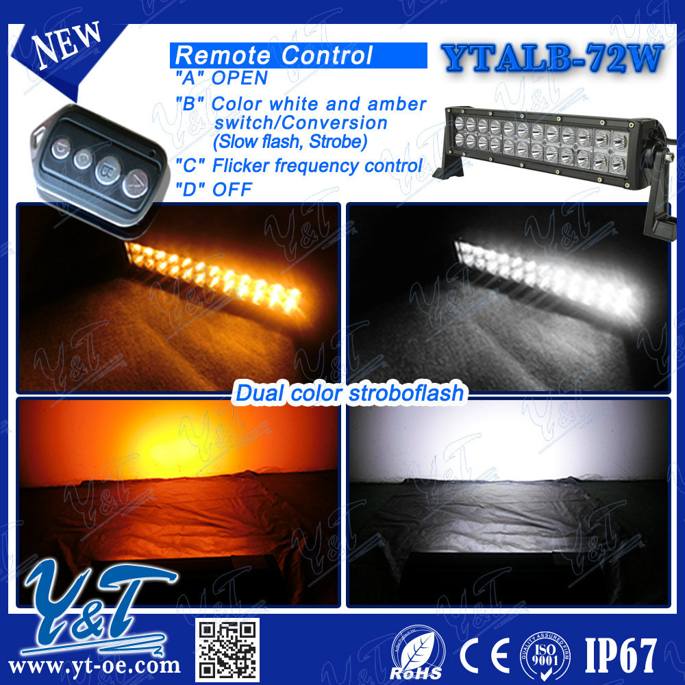 13.5Inch 72W Amber/White Led Work Light Bar Tele Control Double row Offroad 4WD Truck Led flashing strip lights