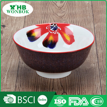 Graceful colorful flower round ceramic rice bowl with wholesale price