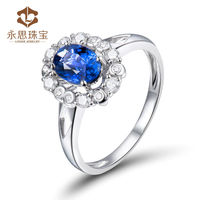 Wedding Band Ring Setting Oval 5x7mm Natural Sapphire In Sold 18k White Gold Promise Rings Wholesale Jewelry SR0438