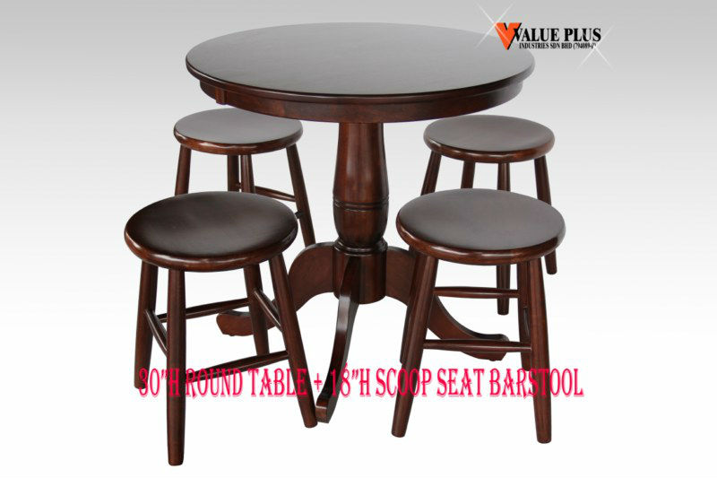 "30""H ROUND TABLE + 18""H SCOOP SEAT BARSTOOL"
