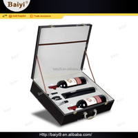 Durable High Quality PU Leather Wine Carrier Box with Wine Opener Set