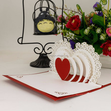 Heart shaped laser cutting eco-friendly paper 3D pop up greeting cards for valentine