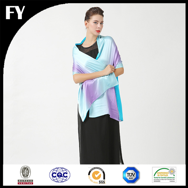 custom digital print elegent design shawl silk satin for evening dress