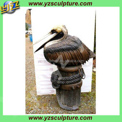 garden decoration lovely casting bronze sleeping pelican sculpture
