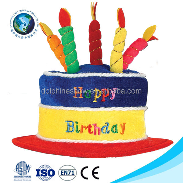 Wholesale happy birthday party gift giveaway cake cap with candles handmade colorful soft toy plush adult birthday hat