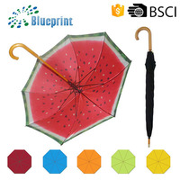 Custom Wooden HANDLE Advertising Curve Handle Straight Umbrella