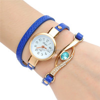 new arrive lady fashion leather bracelet watch with diamond
