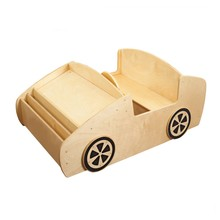 Preschool school classroom furniture car-shape design wooden library book shelf for kids