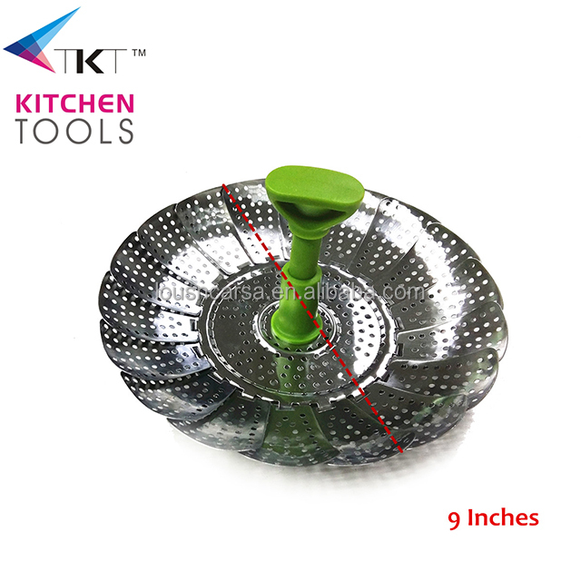 "9"" adjustable stainless steel food steamer with plastic handle vegetable steamer vegetable basket"