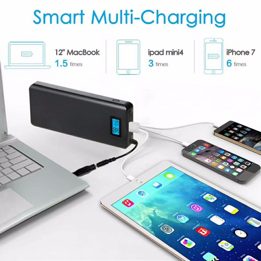 Libower digital display oem USB and DC output 5V 2.1A 1A custom power bank 10000mah with LED light OEM capacity and brand cell
