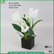 High Quality White Artificial Tulip Flower in Black Plastic Pot