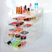 New Design Desktop 6 Layers Acrylic Clear Cosmetic Makeup Cube Organizer With Purple Diamond Handle Wholesale