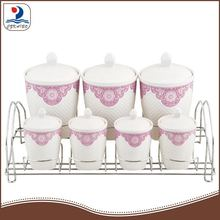 PXM2414-7/S colorful kitchen porcelain tea coffee sugar canister set
