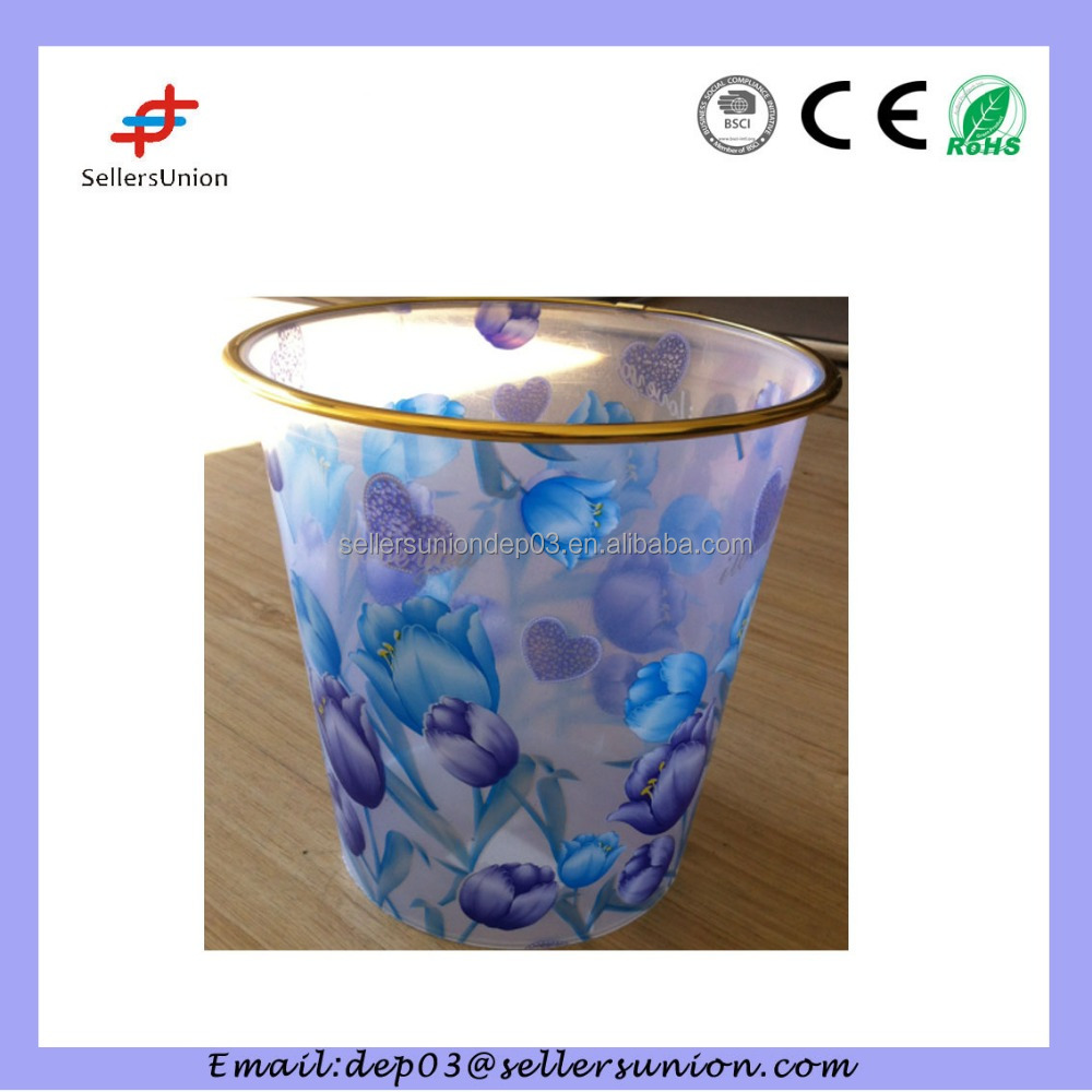 transparent plastic dustbin w/flower printed