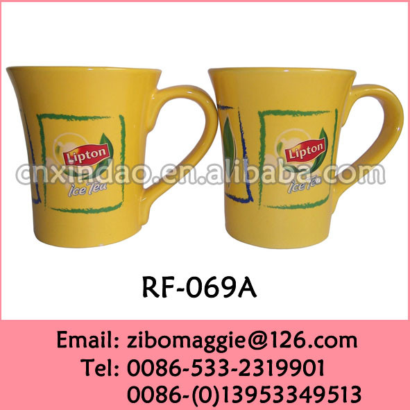 Hot Sale Yellow Color Promotion Ceramic Tea Cup with Lipton Design for Drinking Cup